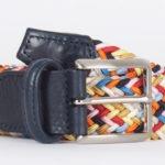 Cinturón tejido con cuero de colores