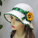 Sombrero para mujer color verde y blanco