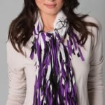 Bufanda para mujer, color blanco con púrpura