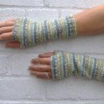 Guantes sin dedos tejidos a palillo