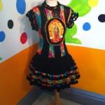Vestido tejido a crochet con estampado