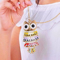 Fashion-national-cool-trend-multi-colored-oil-owl-long-necklace.jpg_250x250