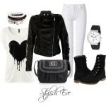 Trajes de invierno en blanco y negro